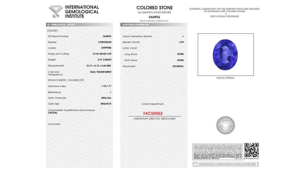 IGI Colored Stone Report