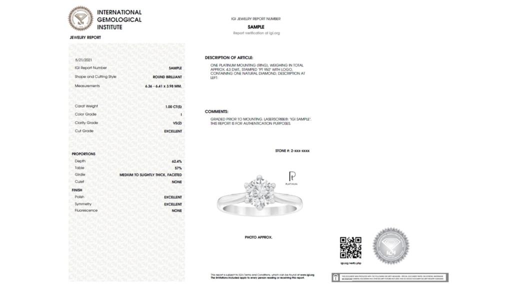 IGI Jewelry Report