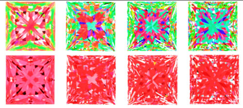 ASET and corresponding Ideal-Scope images for four princess cut diamonds