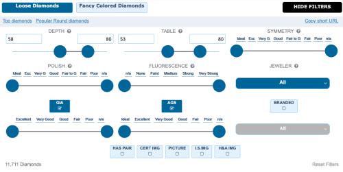 Advanced Diamond Search Filters