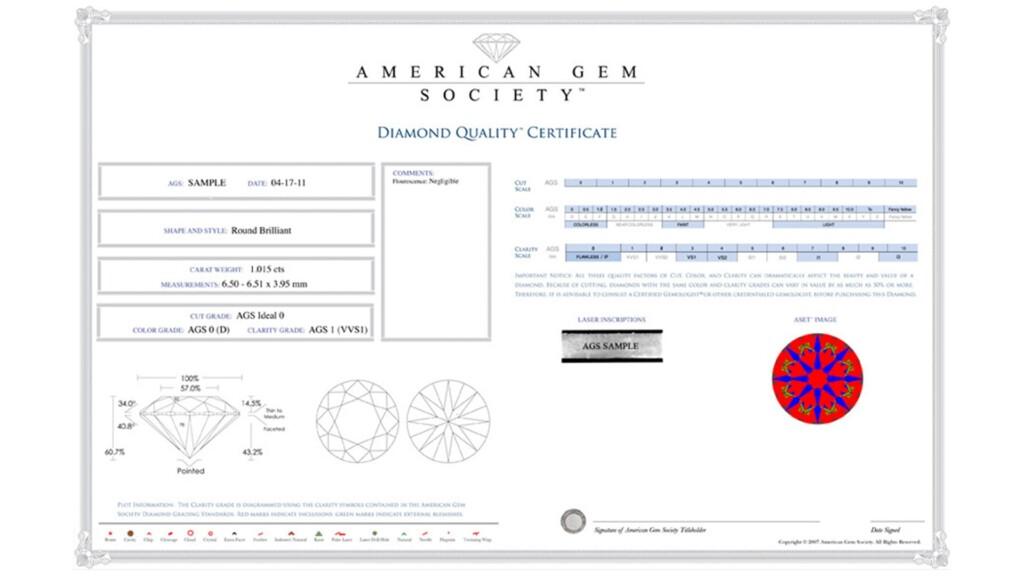 AGS Diamond Quality Certificate