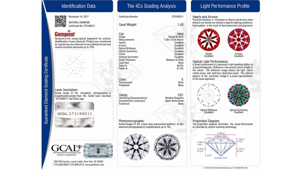 GCAL Guaranteed Diamond Grading Certificate