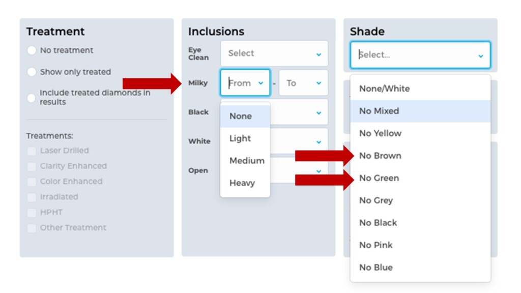 Screen shot of wholesale search with Milky and Shade options
