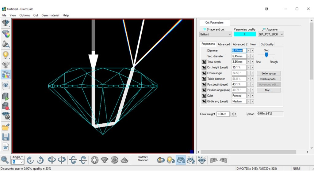 DiamCalc proportions input and ray-tracing example