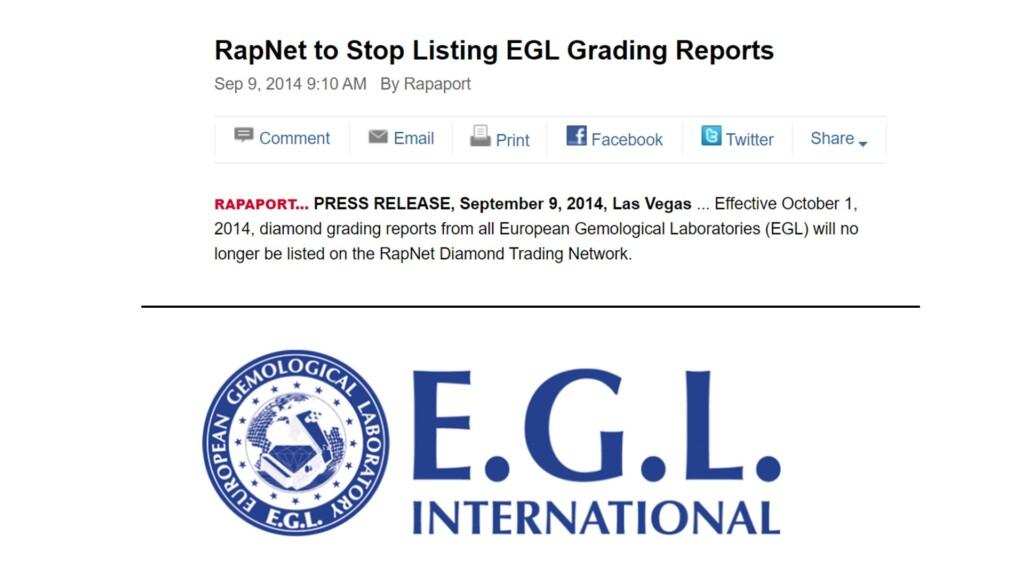 2014 article stating RapNet will delist EGL graded diamonds