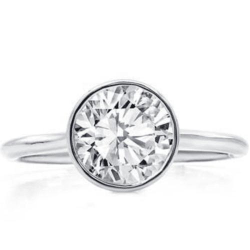 Bezel Set Solitaire Engagement Ring Setting from Adiamor