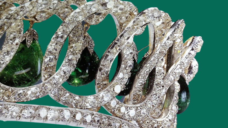 Loops of diamonds with emerald drops as part of the Vladimir Tiara